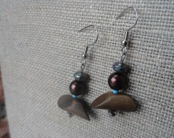 Wood and Mocha Beaded Earrings