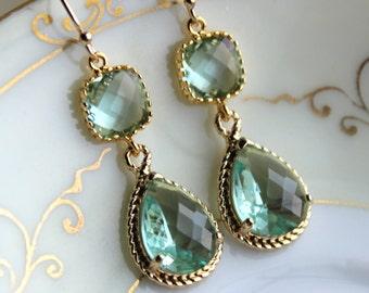 Prasiolite Earrings Gold Two Tier Teardrop Earrings - Prasiolite Green Bridesmaid Earrings Gift - Green Wedding Jewelry - Bridesmaid Jewelry