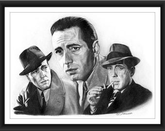 Humphrey Bogart 8 x 10 signed and numbered print - Original Graphite Portrait