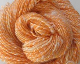 "Handspun Yarn ""Dreamsicle"" Two Ply Orange and White Merino Wool/Bamboo Rayon/Firestar/Kid Mohair"