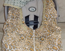 Leopard Fleece Green Flannel Car Seat Cover Infant Baby Boy Girl carseat