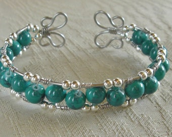 Stainless steel wire wrapped beaded cuff bracelet