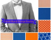 Men's cobalt & orange bowties - chevron polka dot seersucker royal blue bowtie wedding bowtie, groomsmen, ushers, ring bearer, father son