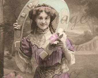 1908 Antique French Tinted Photo Postcard Pretty Edwardian Woman with Big Horseshoe RPPC from Vintage Paper Attic