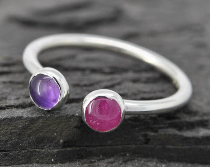 Birthstone ring, adjustable ring, two birthstone ring, gemstone ring, sterling silver ring, mothers ring,