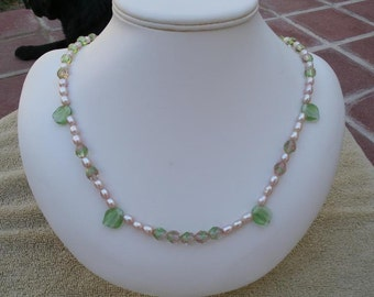 Pink and Green Glass Bead and Pink Freshwater Pearl Necklace and Earrings Jewelry Set - 24 Inch Necklace and Drop Earrings - Spring Summer