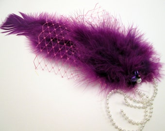 Purple Mermaid Barrette Pink Netting - Baby/Toddler/Child/Adult Fascinator - Whimsical Modern Birthday - photo prop - little mermaid costume