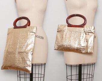 1960s Gold Crocodile Tote / Vintage 60s Metallic Gold Bag / Laptop Bag / iPad Carrier