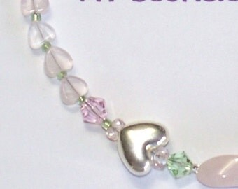 "Handmade 16.5"" Sweeheart ROSE QUARTZ  NECKLACE Pale Pink/Green Quartz Hearts Silver Accents"