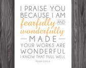 Nursery Decor. Psalm 139:14. 8x10in  DIY Printable Christian Poster. PDF. Bible Verse.