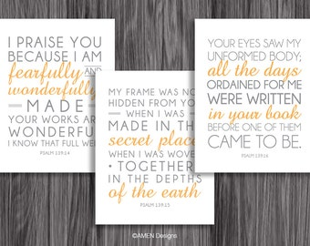 Nursery Decor. Psalm 139:14-16. Set of Three. 8x10in  DIY Printable Christian Poster. PDF. Bible Verse.