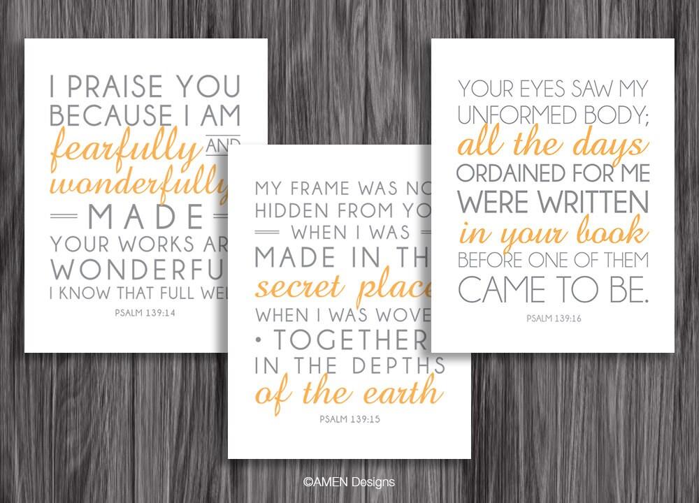 Nursery Decor. Psalm 139:14-16. Set of Three. 8x10in DIY