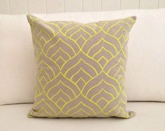 SAMPLE SALE: Dome cushion cover in fluro yellow ink on natural linen/cotton 46cm x 46cm