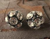 Large 14mm Oxidized Brass Crystal Preciosa Rhinestone Ball Beads (2)