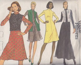 1970s High Neck Flared A Line Dress, Collarless Vest Vintage Pattern, Very Easy Vogue 8421, St. Laurent Couture Russian Style