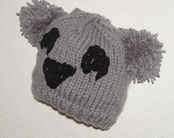 KOALA  Hat Beaine Chunky Knit Winter Accessories Animals Hat koala hat POM POM winter hat teens winter hat women koala hat men knit grey hat