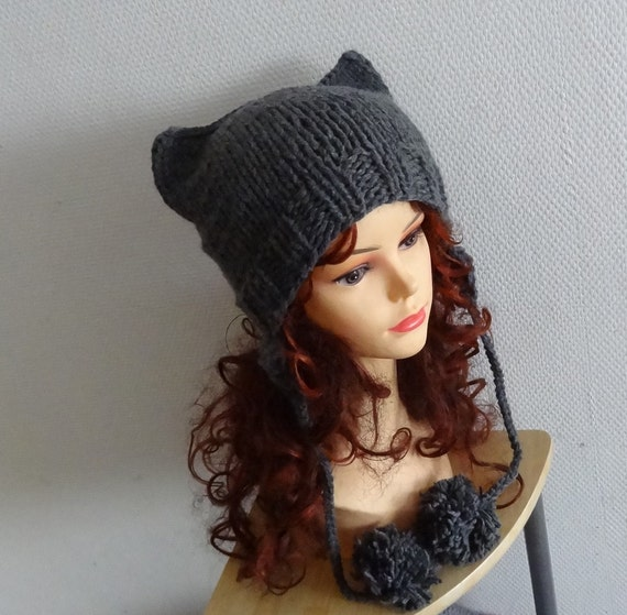 Cat Ears earflaps Hat Cat Beanie Chunky Knit Winter by Ifonka