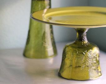 Olive Green Cake Stand / Cupcake Stand / Dessert Pedestal for Vineyard Weddings Wine Country Weddings Napa Valley Weddings Hawaiian Weddings