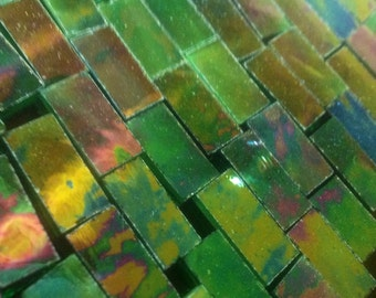 50 TINY BORDERS - Dk Green Iridized (1/4 x 3/4-1) Stained Glass Tile
