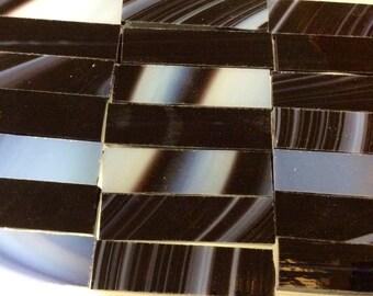"""25 ZEBRA BORDERS BLACK & White 3/8x1.5"""" Opal Art - Stained Glass Border Tiles"""