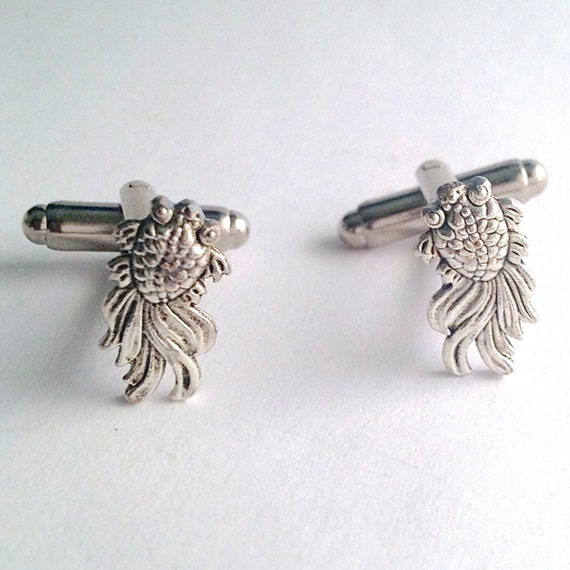 silver koi carp silver koi fish cuff links new pair of handcrafted by