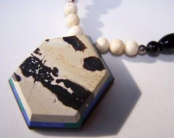 Striking Chohua Jasper Intarsia Pendant with Earrings