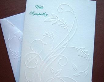 Embossed Swirling Leaves Sympathy Card