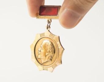 Soviet badge Lenin, red gold tones Soviet Union lightweight badge
