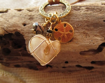 Charm Necklace with Golden Beach Heart Wire Wrapped in Gold with Gorgeous Brown Taupe Mottled Gemstone and Sandollar Charm