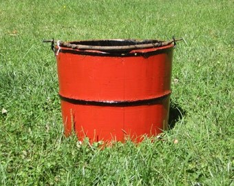 Vintage Red Wooden Bucket With Cast Iron Handle