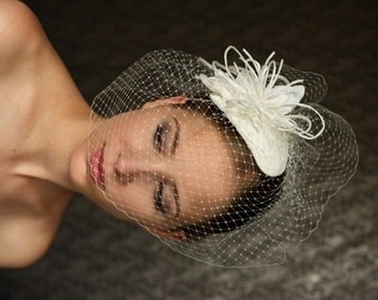 Wedding ivory  BIRDCAGE VEIL , bridal bird cage veil . Wedding hat.