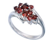 Many Small Gemstone Daisy Appearance Sterling Silver Ring