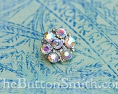 "Rhinestone Buttons ""Isabel"" (15mm) RS-013 in Opal/AB - 5 piece set S"