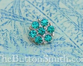 "Rhinestone Buttons ""Isabel"" (15mm) RS-013 in Aquamarine - 5 piece set S"