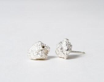 Silver Lava Rock Volcan Stud Earrings