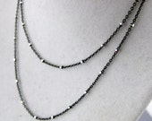 "Sterling Silver 18"" Two Tone Gun Metal/ Silver Finished Chain 1mm x 1.5mm Links with Heart Charm (ZZ-05)"