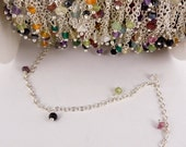Assorted Gemstone Dangle on Silver Link Chain -- 3 FEET (CHN-19)
