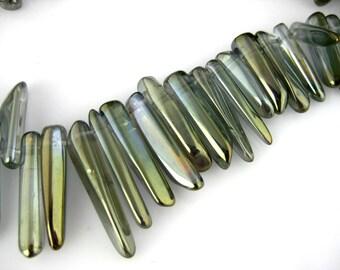 "Grey Titanium Crystal Quartz Polished Dagger Beads Full 15"" strand 45 beads (CC-25)"