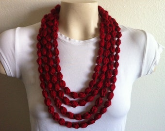Bubble Loop Scarf Necklace in Autumn Red, Crochet Scarf Necklace, USA seller