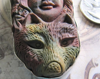 Carved Jasper Woman Goddess with Wolf in Sterling Pendant