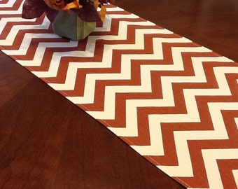 "CLEARANCE - Sample Size - Only One - 12x37"" Fall Table Runner Rust and Natural Zig Zag Chevron Pattern"