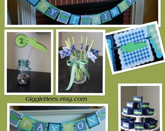 Alligator Party Package, Alligator Birthday Banner, Centerpieces, Candy Cups, Name Banner, Chevron Straws