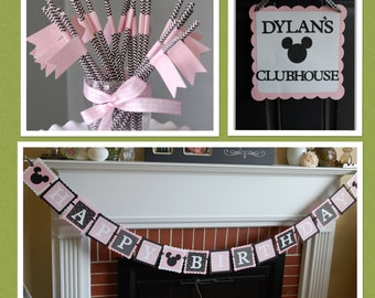 Minnie Mouse Party Package, Door Sign, Happy Birthday Banner, Minnie Mouse Birthday, Minnie Mouse Decorations,