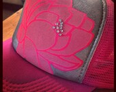Hot pink trucker with pink lotus