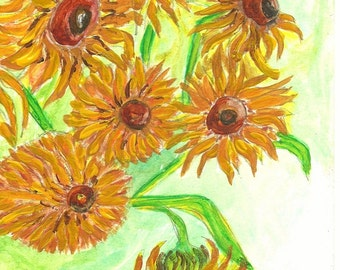 Sunflower Painting Original Painting Watercolor Painting Art Study