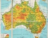 1960s AUSTRALIA map including state boundaries, cities including Sydney Melbourne Brisbane antique