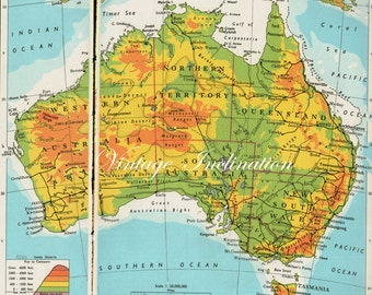 1960s AUSTRALIA map including state boundaries, cities including Sydney Melbourne Brisbane antique