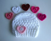 White Baby Hat with 3 Different Heart Options, Choose from 18 Colors, Baby Girl Hat, Photo Props, Newborn Hat, Crochet Hat