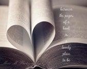 Book, Quote, Love, Heart, Black, White, Grey, Urban, Modern, Original Fine Art Photograph, Office, Home Decor