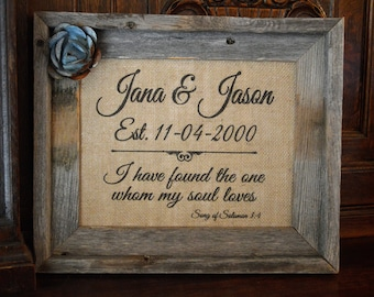 Vintage Rustic Barnwood Framed Burlap Personalized Wedding Art, Rusty/Zinc Metal Flower, Inspirational Verse, Charming for Newlywed Couple